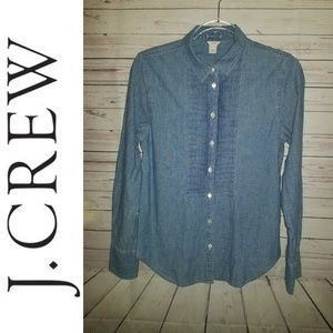 J. Crew Chambray Button Front Top | Size 2